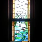 Stained glass window: lillies