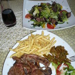 Salad with lamb & lamb chops--  Yummy!