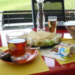 "Rum & tea with local ""Hobel Kaese"" - Hobel cheese"
