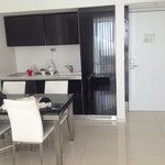 small kitchenette; plates, cutlery etc must be rented separately