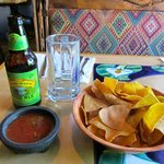 Beer and chips and salsa