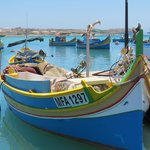 Marsaxlokk Harbour with traditional fishing boats