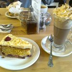 Raspberry and white chocolate cake and a hot chocolate