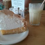 Lemon meringue pie and a banana milkshake