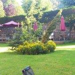 Le jardin avec des chaises longues et petits salon à disposition