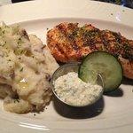 Grilled salmon w/ garlic mashed potatoes $19.95