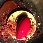Salted peanut parfait with chocolate ganache and cherry sorbet