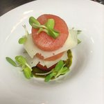 watermelon, manchego, pesto and sprouts