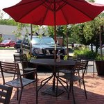 Comfortable cafe tables for outdoor dining.