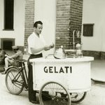 My father Antonio selling gelato in Italy (1946)