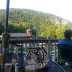 sitting on the deck over looking the mountains and train station :)