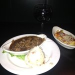 beef tips, mashed potatoes and tortellini.... with Virginia blend table wine...