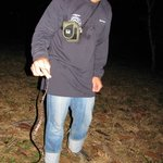 My husband holding a snake on our night hike
