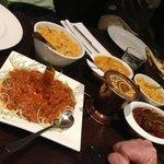 Lamb in front, Daal copper bucket, Chicken Korma behind, Beef Vindaloo right, Saffron Rice x2.