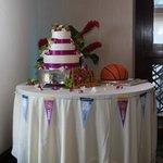 Cake table-Wedding cake and bball groom's cake
