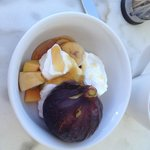 fresh figs and yoghurt with honey part of breakfast