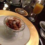 bread pudding with yogurt and pecans