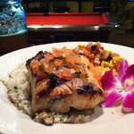 Grilled Mahi special in a tequila-citrus marinade! Served on cilantro rice with a black bean & r