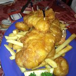 Fried seafood plate--ample for two!