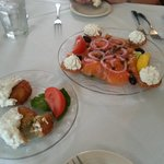 Crab Cakes and Salmon Appetizers