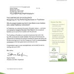 2013 Excellence Certificate Letter