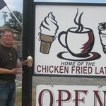 my husband holding a chicken fried latte