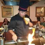 Chef blowing a train whistle