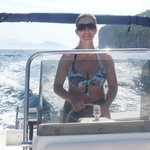The Missus driving one of the Capri Banana Boats