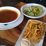 Red pepper and tomato soup, Bibb lettuce salad, side order of fries.