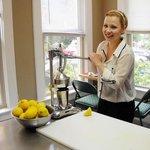 Olivia making fresh squeezed lemonade @ Skylark's Hidden Cafe ;-)