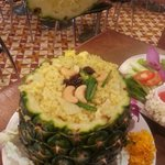 Pineapple rice with cashew nuts, rasin, chicken breast and of course, lots of sweet pineapples.