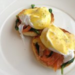 The worlds best Eggs Benedict with house cured salmon, warrigal greens and finger lime hollandai