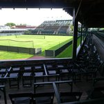 Main tennis court for professional tournaments with viewing stands