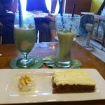 Lychee and Lime Fizz and Carrot Cake