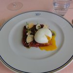 beef tartare with soft boiled egg