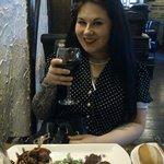 me with wine and pigeon & mushroom tart starter