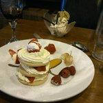 dessert: strawberry shortcake (front) maple & walnut icecream (back)