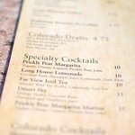 Drink Menu at the bar above the Metate Room