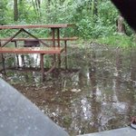 Sherwood Forest Campground in Wisconsin Dells became a lake because of drainage problems.