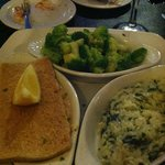 My seafood pot pie with the spinach risotto and broccoli.