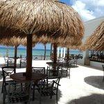 patio next to snack bar  beach bar on far right