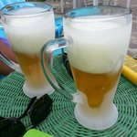 Pepes ice cold beers with glasses straight from the freezer