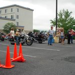 Motorcycle games in parking lot.