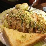 Chicken alfredo with Texas toast