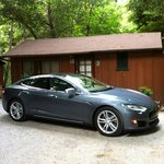 Charging the Tesla at cabin #3