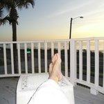 Enjoying  the sunrise in my comfy robe.