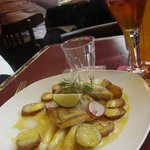 Perch, white asparagus and potatoes