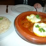 Lamb Meatballs with poached egg and onion rice