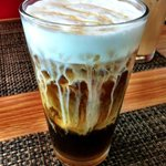 cold brew coffee with milk and honey :)