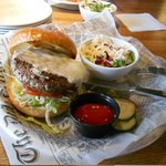 Cheeseburger with Taleggio cheese and cole slaw